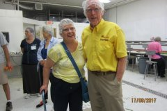 Kiwanians-Marilyn-Claus-and-Dick-Roe-are-ready-to-work-on-the-line-at-Gleaners-in-Leamington
